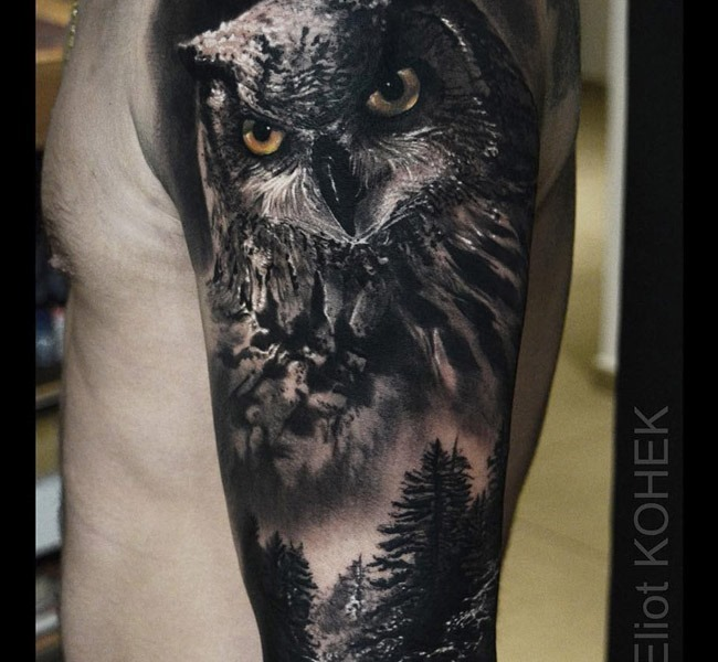 owl forest 35 Mind blowing realistic tattoo designs