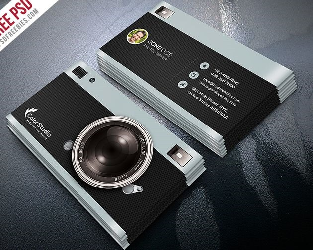 camera business cards 50 free PSD business card template designs