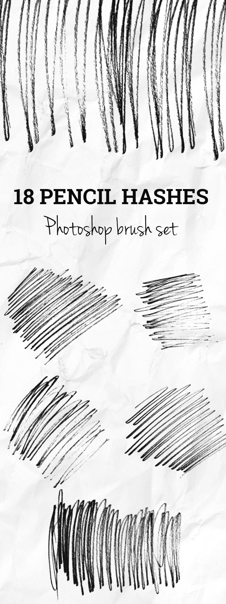 Premium members: 18 Pencil hashes Photoshop brush set | Creative Nerds